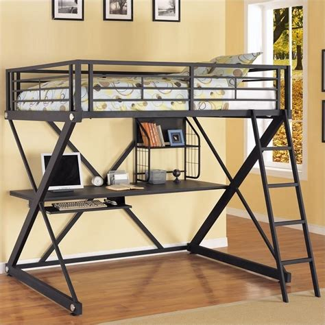 black loft bed powell furniture z bedroom full size study metal loft bunk