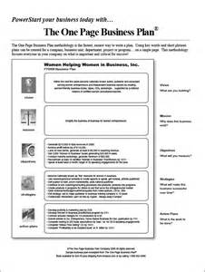 One Page Business Plan Template Word by One Page Business Plan Template 4 Free Word Pdf