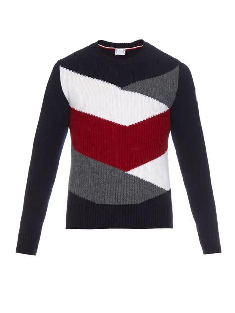 Color Block Sweater lyst moncler gamme bleu colour block wool knit sweater