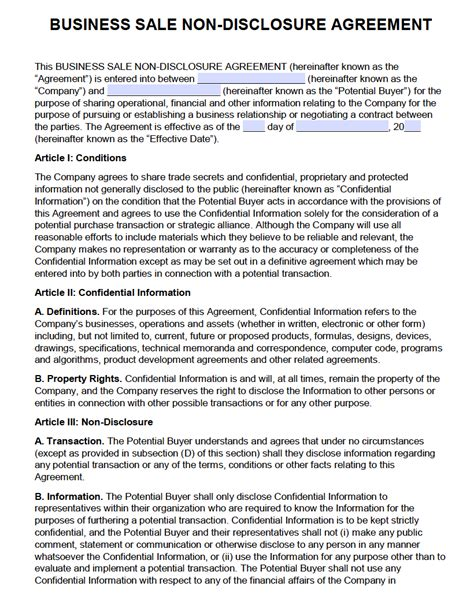 Business Sale Confidentiality Agreement Template Free Business Sale Non Disclosure Agreement Nda Pdf Word Docx