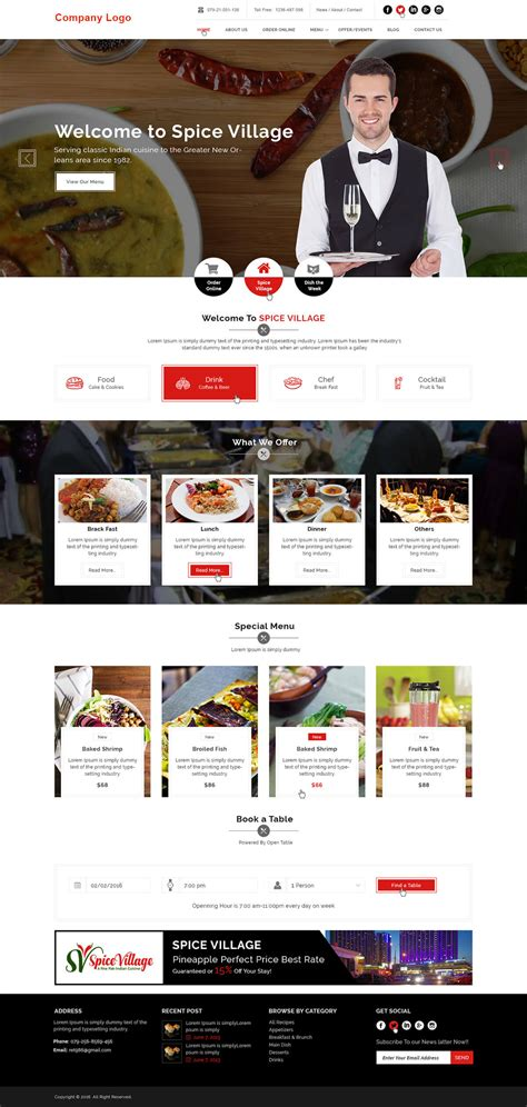 Food And Restaurant Website Template Ved Web Services Restaurant Website Template With Ordering