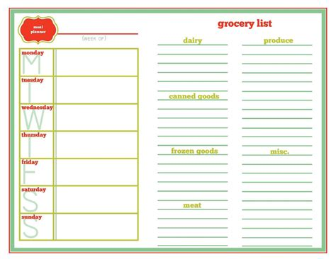menu planner with grocery list template printable meal planning template search results