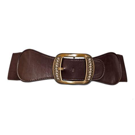plus size rhinestone studded burnished buckle elastic belt