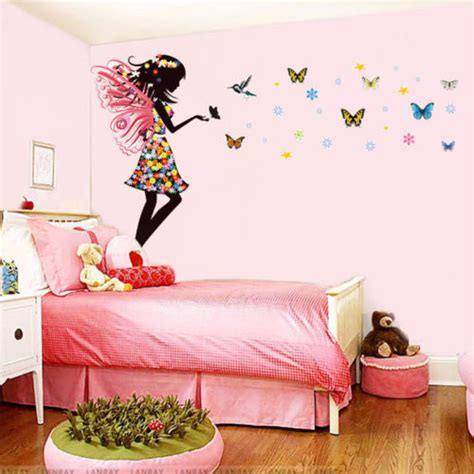 butterfly wall stickers for bedrooms aliexpress com buy fairy girl colorful butterflies wall