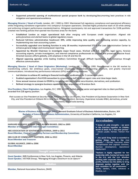 resume template for executive director non profit executive resume sle chief executive officer