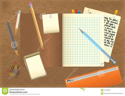 Student S Desktop Stock Vector Image Of Drawing Drawings Student Desk Top