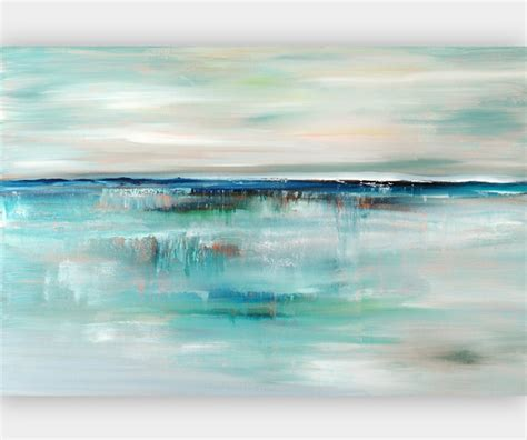 Blue And Grey Duvet Covers Abstract Giclee Print Coastal Art In Turquoise And Blue
