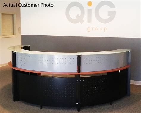 half glass top reception desk