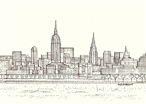new york drawings original print of the new york city skyline
