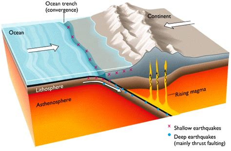 convergent boundary diagram earth structure and plate tectonics shear energy
