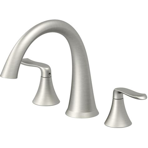 bathtub handles shop jacuzzi piccolo brushed nickel 2 handle deck mount bathtub faucet at lowes com