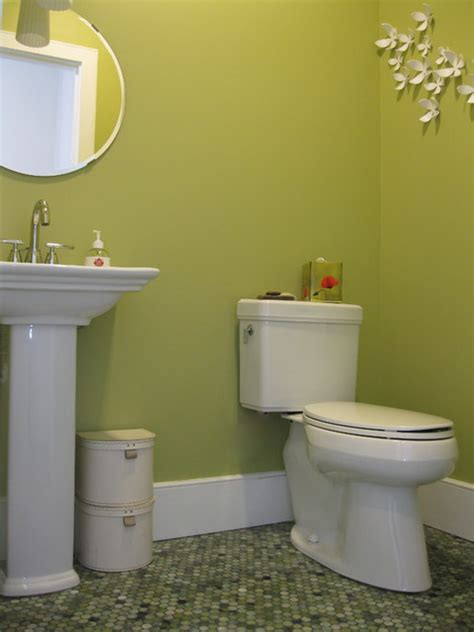 Yellow Tile Bathroom Ideas transitional powder room with mixed jade penny tile floor