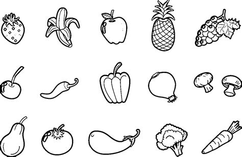 fruits  vegetable coloring pages coloring home