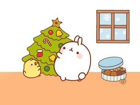 molang trimming  christmas tree molang kawaii bunny cute illustration