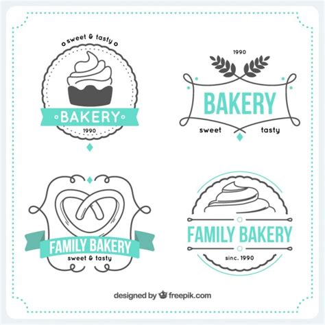 hand drawn bakery logos templates vector free download