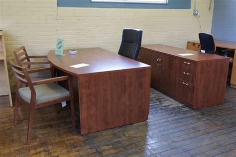 Turnstone Dark Cherry Bowfront Desk Credenza Set Turnstone Office Furniture