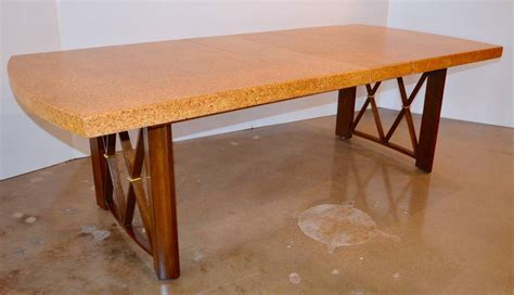 paul frankl s cork walnut and brass dining table for
