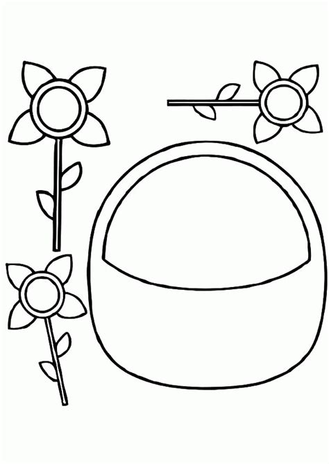 flower basket coloring page coloring home