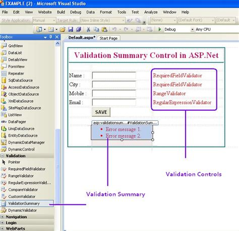 validation pattern in asp net validationsummary control in asp net