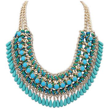 Weaving Multilayer Collar Beige 2016 layered bohemian tassel fringe drop vintage weave multilayer collar necklace choker chain