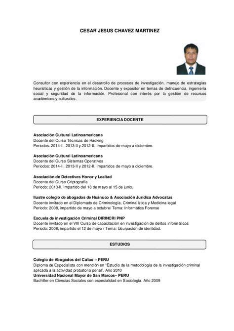 Plantilla Curriculum Vitae Vigilante De Seguridad Curriculum Resumido