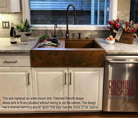 top mount farmhouse retrofit copper apron farmhouse sinks top mount or under
