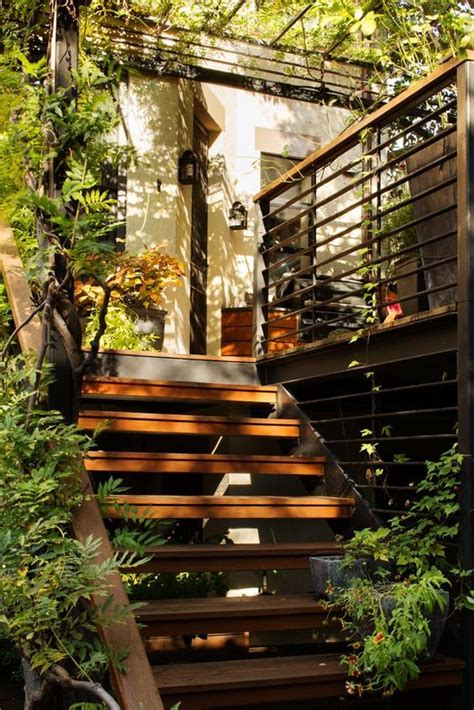 backyard park slope outdoor stairs in park slope garden by kim hoyt architect