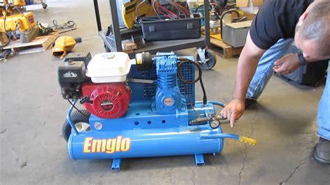 emglo wheelbarrow air compressor honda gas powered hga p