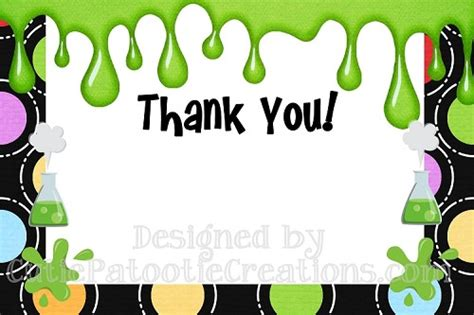 thank you letter to science mad science scientist thank you cards printable or printed