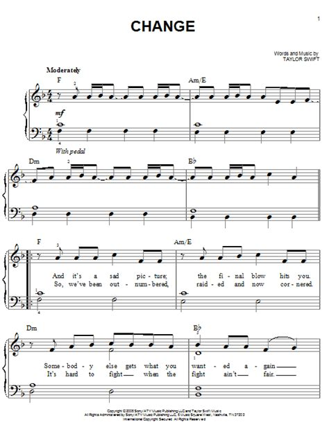 change taylor swift guitar tabs change sheet music by taylor swift easy piano 69778