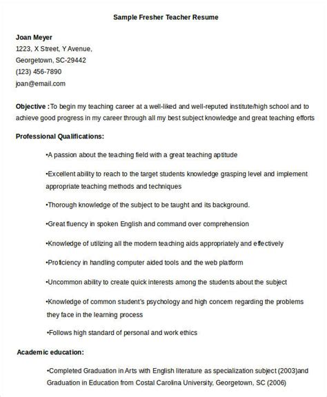 resume template for fresher teachers resume sle 32 free word pdf documents
