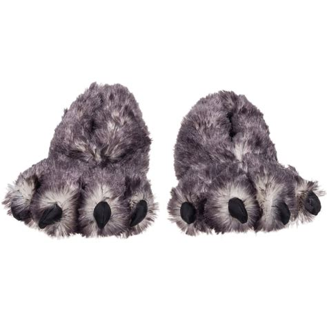 wolf slippers wishpets fuzzy gray wolf plush slippers bold home products
