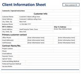 Client Information Sheet Template by Client Information Sheet Template