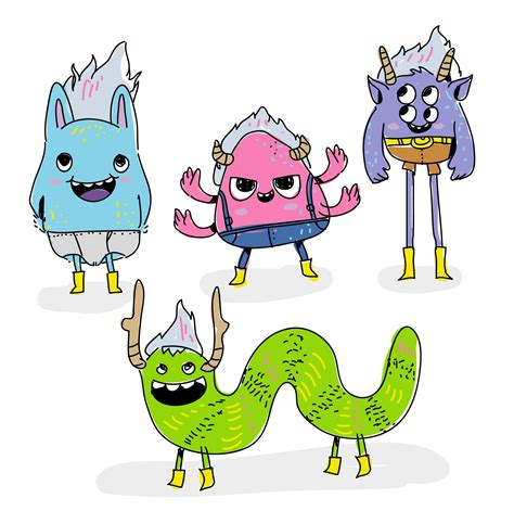 free vector doodle characters trolls character doodle vector illustration