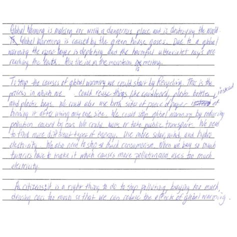 An Essay On Global Warming For Class 7 by Grade 7 Level 4 Writing Sle