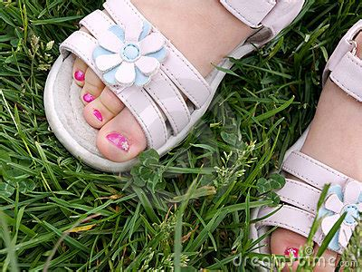 3 year s pedicure in white dress sandals stock photo image 6088650