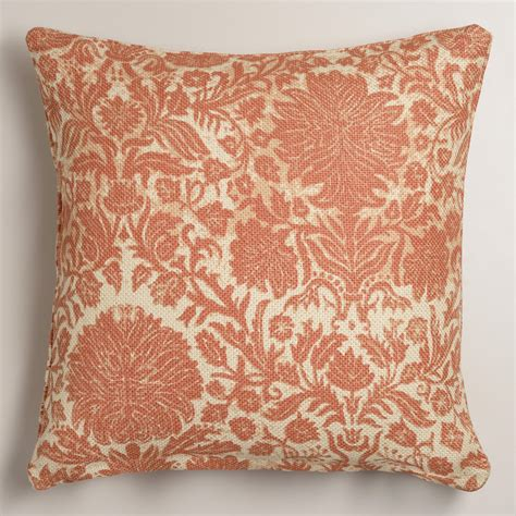 Floral Pillows by Orange Floral Jute Throw Pillow World Market