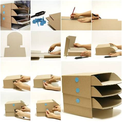 How To Make A Tray Out Of Paper - how to make cardboard office desktop storage trays step by
