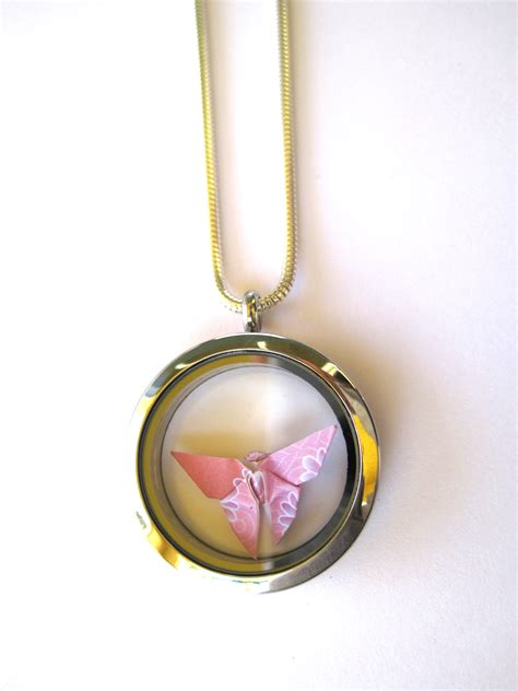 Origami Necklace Locket - origami butterfly necklace floating locket pendant