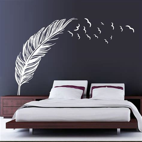 Walpaper Walsticker Dinding 10 M 50 Cm 3d flying feather wall sticker home decor living room home decoration wallpaper wall sticker