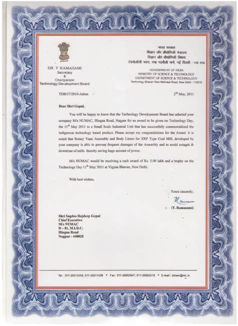 appreciation letter on winning an award power station spares coal sling mobile auger special