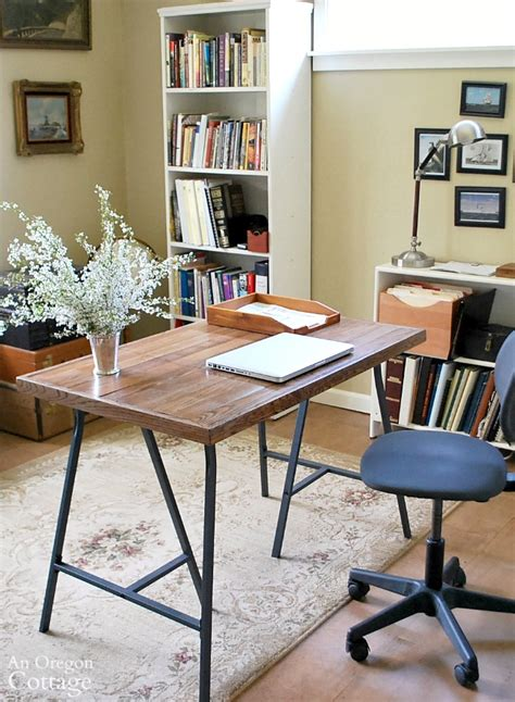how to a trestle desk how to a desk with ikea trestle legs and wood