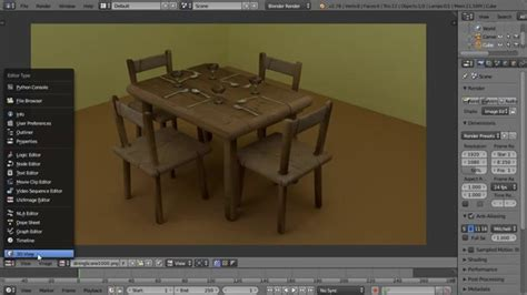 Tutorial Blender Table | blender dinner table scene furniture cutlery and