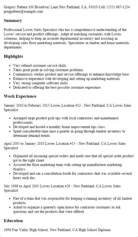 Lowes Sales Specialist Sle Resume by Professional Lowes Sales Specialist Templates To Showcase Your Talent Myperfectresume