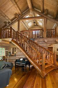 Log Home Stairs by Rustic Log Home Tree Branch Logs Railing Staircase