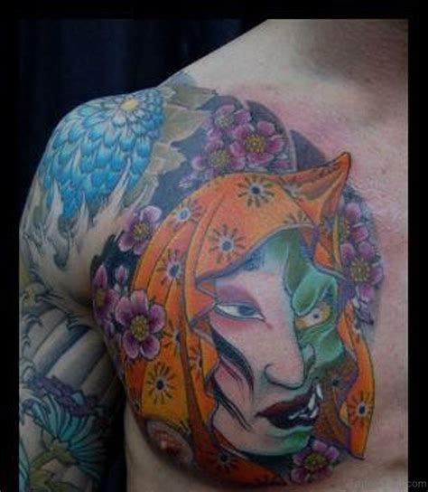 japanese hannya mask chest tattoo 63 classic mask tattoos on chest