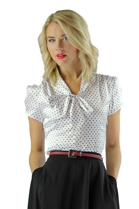 Blouse Polka modest tops satin bow blouse in polka dot