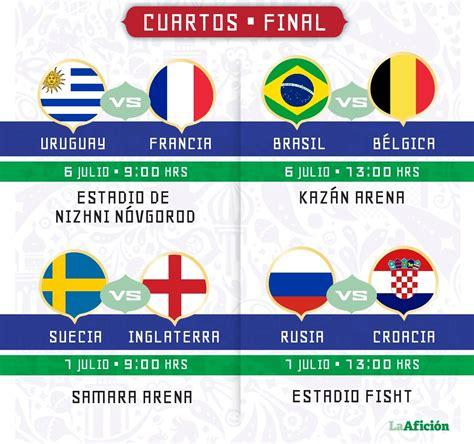 cuartos de final cuartos de final mundial 2018 fechas horario y d 243 nde ver