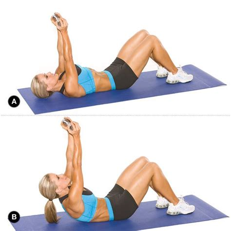 weighted crunch target muscles rectus abdominis portion set up begin by lying faceup