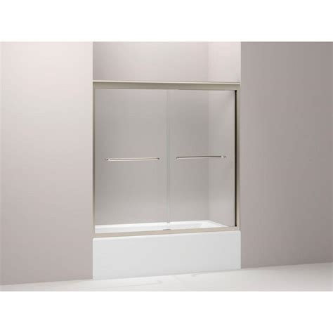 Kohler Frameless Sliding Shower Doors Kohler Levity 59 5 8 In X 74 In Frameless Sliding Shower Door In Anodized Brushed Bronze With
